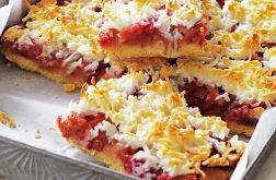 Rhubarb and Coconut Slice
